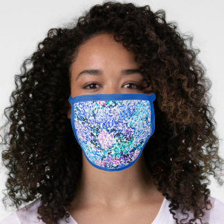 Fun Blue Pink Purple Turquoise Abstract Polka Dots Face Mask