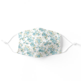 Fun Chic Teal Blue Sage Green Floral Watercolor Adult Cloth Face Mask