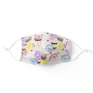 Fun Colorful Coffee and Donuts Adult Cloth Face Mask