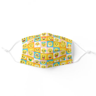 Fun Colorful Playful Emojis Pattern Adult Cloth Face Mask