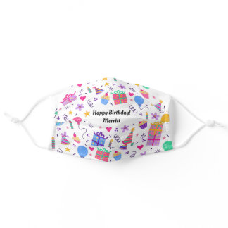 Fun Festive Happy Birthday Pattern Custom Name Adult Cloth Face Mask