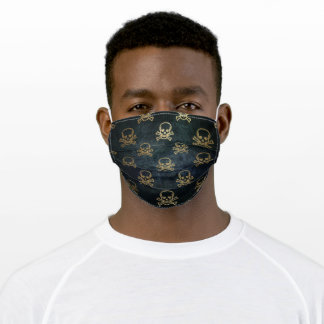 Fun Gold Pirates on Faded Black Adult Cloth Face Mask