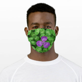 Fun Green and Purple 4 Leaf Clover Adult Cloth Face Mask