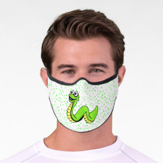 Fun Neon Green Yellow Snake Bright Green Dots Premium Face Mask
