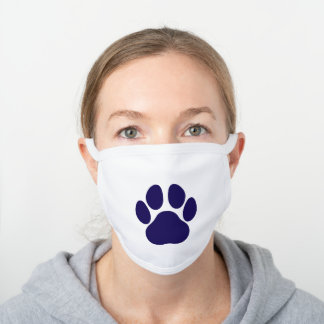 Fun Paw Prints Dog Traces Trails Blue and White White Cotton Face Mask