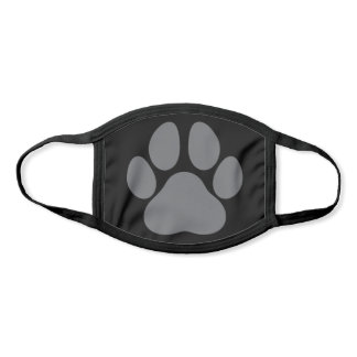 Fun Paw Prints Dog Traces Trails Gray and Black Face Mask