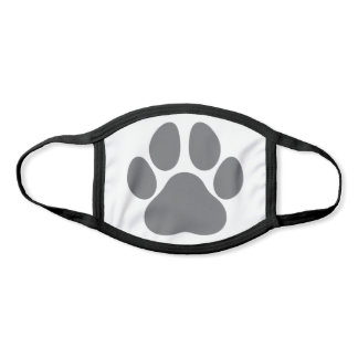 Fun Paw Prints Dog Traces Trails Gray and White Face Mask