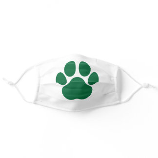 Fun Paw Prints Dog Traces Trails Green and White Adult Cloth Face Mask