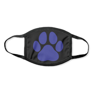 Fun Paw Prints Dog Traces Trails Navy Blue Black Face Mask