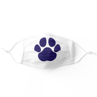 Fun Paw Prints Dog Traces Trails Navy Blue White Adult Cloth Face Mask