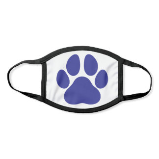 Fun Paw Prints Dog Traces Trails Navy Blue White Face Mask