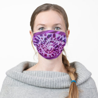 Fun Psychedelic Spiral Tie Dye - Purple Adult Cloth Face Mask