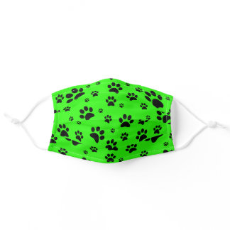 Fun Scattered Black Paw Prints Bright Neon Green Adult Cloth Face Mask