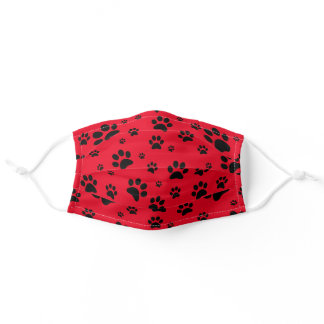 Fun Scattered Black Paw Prints Bright Red Adult Cloth Face Mask
