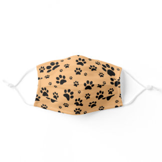 Fun Scattered Black Paw Prints on Light Orange Adult Cloth Face Mask