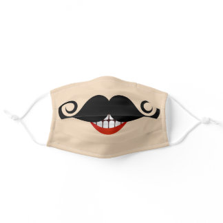 Fun Smiling Toothy Mouth with Curly Mustache Adult Cloth Face Mask