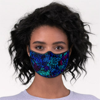 Fun Turquoise Blue Pink Violet Purple Polka Dots Premium Face Mask