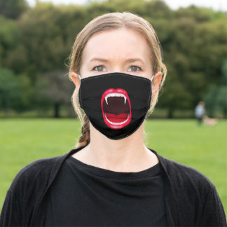 Fun Vampire Fangs Black Cloth Face Mask