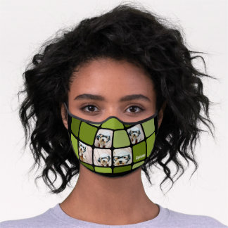 Funky 5 Photo Collage - Black and Lime Green Premium Face Mask