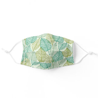 Funky Abstract Teal Olive Green Ochre Fall Leafs Adult Cloth Face Mask