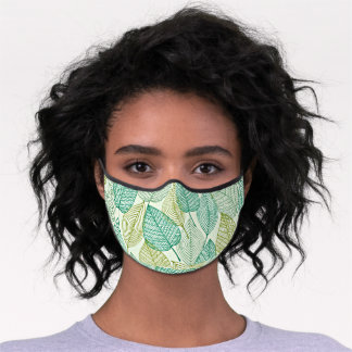 Funky Abstract Teal Olive Green Ochre Fall Leafs Premium Face Mask