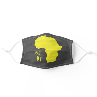 Funky Africa African Map Yellow Grey Adult Cloth Face Mask