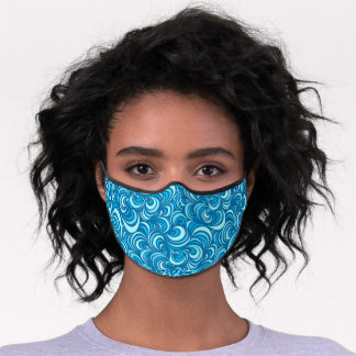 Funky Azure Light Blue Wavy Abstract Pattern Premium Face Mask