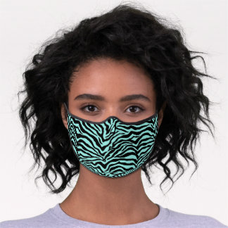 Funky Black And Mint Green Zebra Stripes Pattern Premium Face Mask
