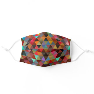Funky Blue Black Orange Pink Green Polygon Pattern Adult Cloth Face Mask