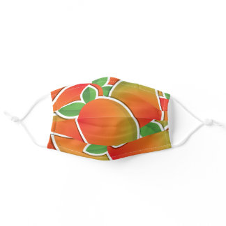 Funky bright tropical mango fruit pattern adult cloth face mask