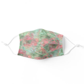 Funky Coral Blush Pink Mint Green Polygon Pattern Adult Cloth Face Mask