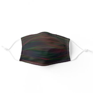 Funky Dark Blue Burgundy Red Green Stripes Pattern Adult Cloth Face Mask