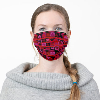 Funky hearts burgundy red pink fuchsia and black adult cloth face mask