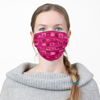 Funky hearts burgundy red pink fuchsia aubergine adult cloth face mask