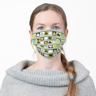 Funky hearts teal aqua olive green brown and white adult cloth face mask