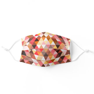 Funky Mauve Pink Taupe Red Brown Polygon Pattern Adult Cloth Face Mask