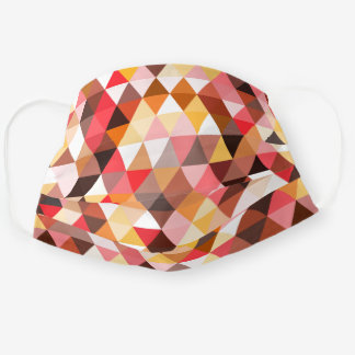 Funky Mauve Pink Taupe Red Brown Polygon Pattern Cloth Face Mask