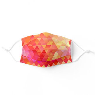 Funky Pink Orange Coral Red Yellow Polygon Pattern Adult Cloth Face Mask