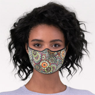 Funky Retro Pink Blue Orange Green Black Floral Premium Face Mask