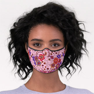 Funky Retro Red Pastel Pink Light Blue Floral Art Premium Face Mask