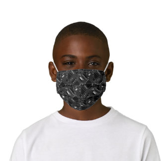Funky Simple Black White Computer Circuit Board Kids' Cloth Face Mask