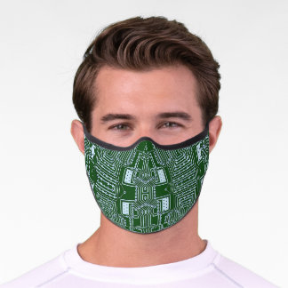 Funky Simple White Green Computer Circuit Board Premium Face Mask
