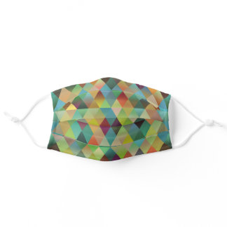 Funky Teal Blue Green Orange Red Polygon Pattern Adult Cloth Face Mask