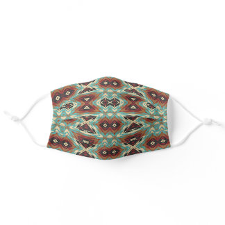 Funky Teal Blue Turquoise Red Brown Tribal Pattern Adult Cloth Face Mask