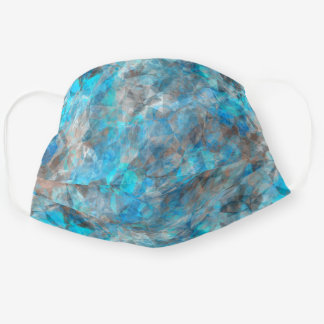 Funky Turquoise Blue Gray Polygon Pattern Cloth Face Mask