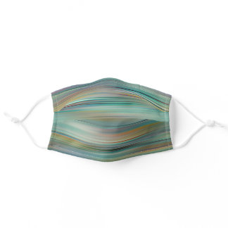 Funky Turquoise Teal Blue Red Stripes Pattern Adult Cloth Face Mask