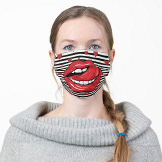 FUNNY Alluring Big Mouth Tongue Lick Lips Gag Adult Cloth Face Mask