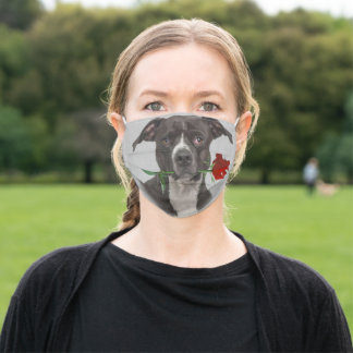 Funny American Pit Bull Terrier Rose Face Mask