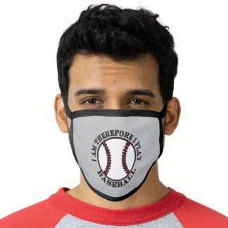 Funny Baseball I Am Therefore I Play Face Mask