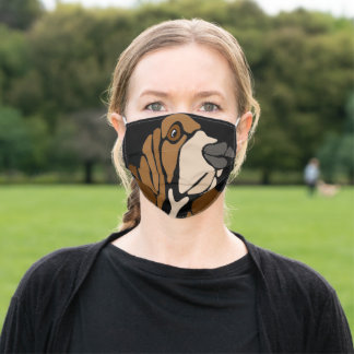 Funny Basset Hound Dog Abstract Art Adult Cloth Face Mask